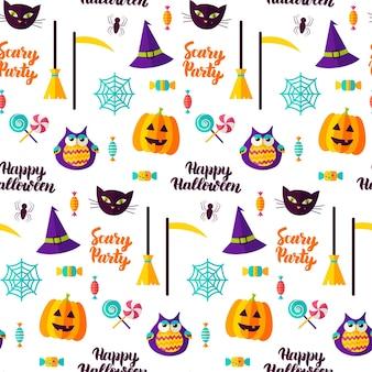 Padrão sem emenda de festa de halloween assustador. ilustração vetorial. doçura ou travessura.