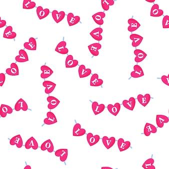 Padrão sem emenda de festão de corações com a inscrição para o casamento ou dia dos namorados.