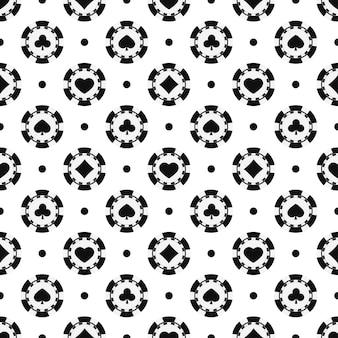 Padrão sem emenda de fichas de pôquer preto e branco. chip de cassino monocromático com cartão ternos corações, espadas, diamantes, clubes, imprimir em fundo branco. ilustração em vetor textura plana simples infinita.