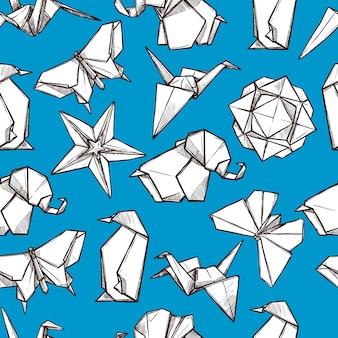 Padrão sem emenda de figuras de papel dobrado de origami