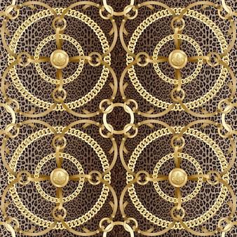 Padrão sem emenda de fita dourada com correntes redondas no fundo do leopardo animal da moda e impressão de joias