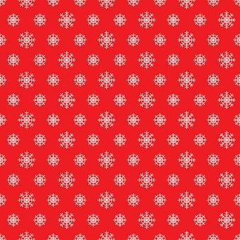 Padrão sem emenda de flocos de neve branca sobre fundo vermelho