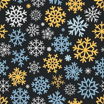 Padrão sem emenda de flocos de neve de vetor diferente. ornamento de cristal de gelo vetorial