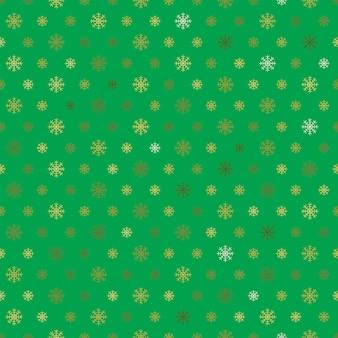Padrão sem emenda de flocos de neve dourada sobre fundo verde.