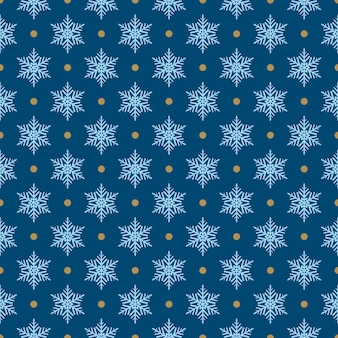 Padrão sem emenda de flocos de neve e pontos, azul claro sobre azul