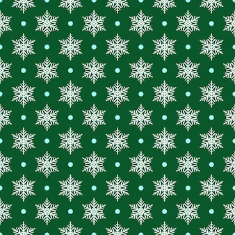 Padrão sem emenda de flocos de neve e pontos, branco sobre verde Vetor Premium