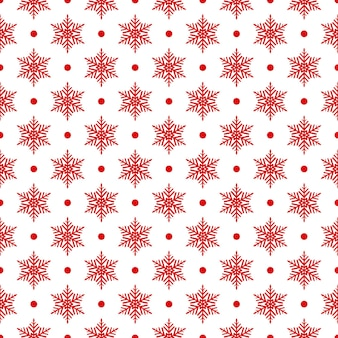 Padrão sem emenda de flocos de neve e pontos, vermelho e branco