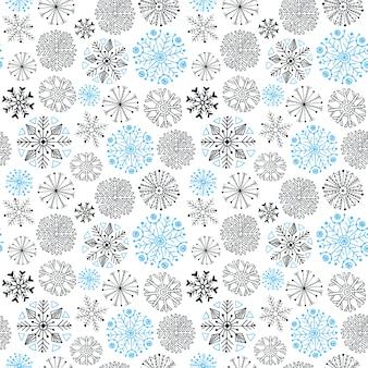 Padrão sem emenda de flocos de neve. natal