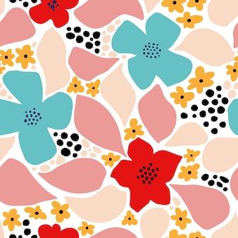 Padrão sem emenda de flor abstrata com formas geométricas, manchas e motivos tropicais. repita a impressão gráfica com formas modernas e elementos florais. ilustração em vetor colagem estilo. teste padrão de flor da moda.