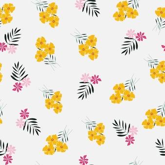 Padrão sem emenda de flor amarela e rosa