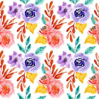 Padrão sem emenda de flor aquarela colorida