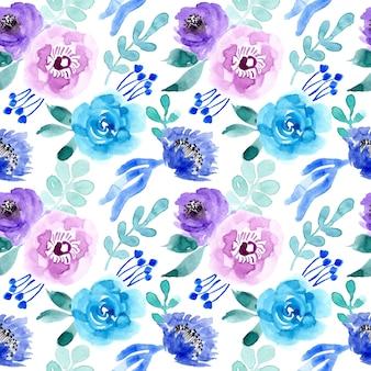 Padrão sem emenda de flor azul aquarela