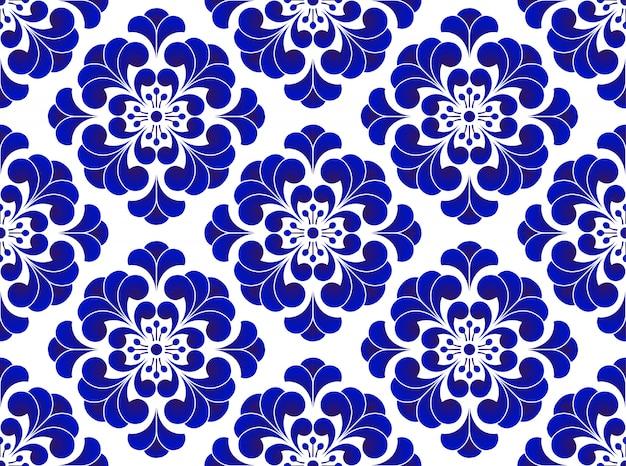 Padrão sem emenda de flor azul e branca, bonito fundo de cerâmica