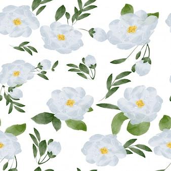 Padrão sem emenda de flor branca