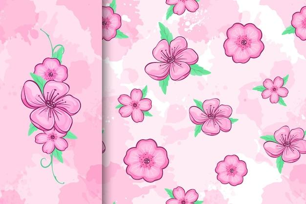 Padrão sem emenda de flor de cerejeira e ilustração de flores