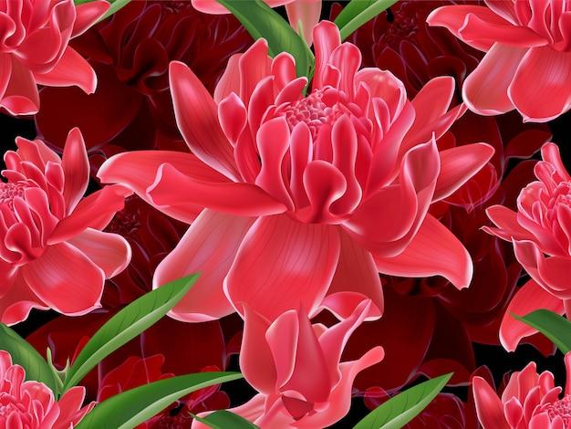 Padrão sem emenda de flor de gengibre tocha