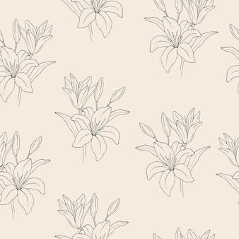 Padrão sem emenda de flor de lírio desenhada à mão