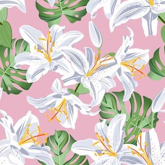 Padrão sem emenda de flor de lírio