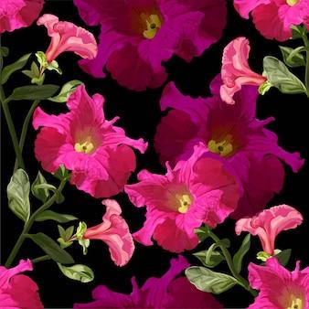 Padrão sem emenda de flor de petúnia em ilustração vetorial de fundo preto