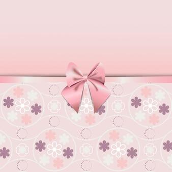 Padrão sem emenda de flor de quartzo rosa decorado com fita rosa romance