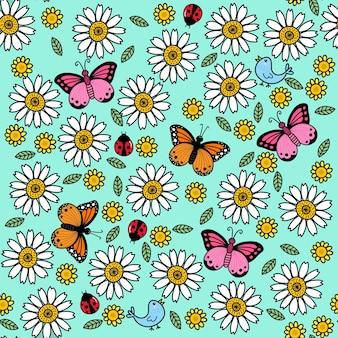 Padrão sem emenda de flor e borboleta