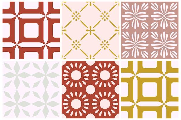 Padrão sem emenda de flor portugal telha. fundo geométrico de cor rosa empoeirado. ornamento de repetição de azulejo tradicional. padrão monocromático de vetor. impressão vintage abstrata para tecido, embalagem.