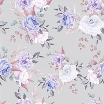 Padrão sem emenda de flor romântica com decoração de flor roxa