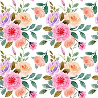 Padrão sem emenda de flor rosa com aquarela