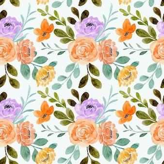 Padrão sem emenda de flor rosa laranja com aquarela