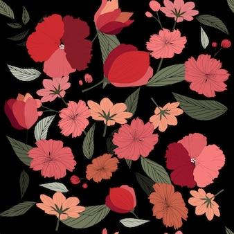 Padrão sem emenda de flor rosa selvagem