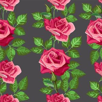 Padrão sem emenda de flor rosa vermelha -vector