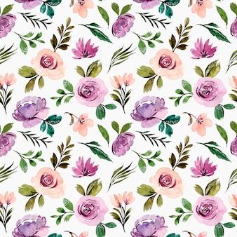 Padrão sem emenda de flor roxa com folhas verdes em aquarela