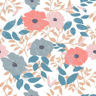 Padrão sem emenda de flor selvagem-de-rosa e azul