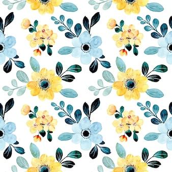 Padrão sem emenda de floral azul amarelo com aquarela
