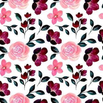 Padrão sem emenda de floral cor de vinho e rosa com aquarela
