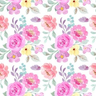 Padrão sem emenda de floral rosa pastel com aquarela