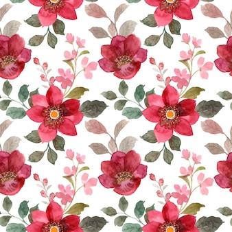 Padrão sem emenda de floral vermelho com aquarela