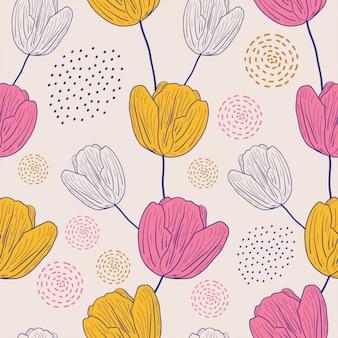 Padrão sem emenda de flores alvas