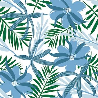 Padrão sem emenda de flores azuis e folhas tropicais