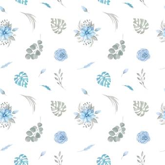Padrão sem emenda de flores azuis florais e vegetação em um fundo branco.
