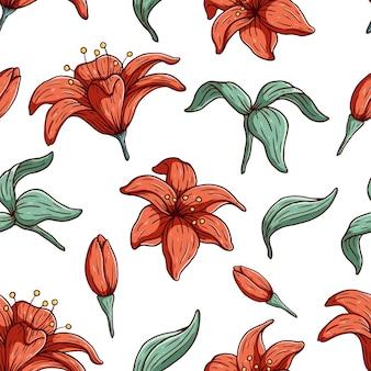 Padrão sem emenda de flores coloridas desabrochando botânicas florais e folhas de fundo
