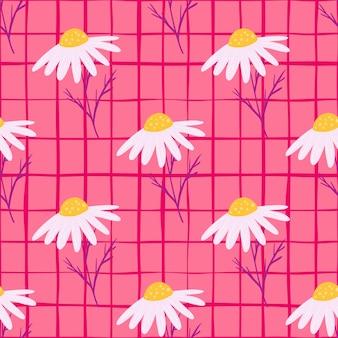 Padrão sem emenda de flores de campo de verão com ornamento decorativo de flores de margarida