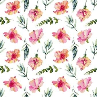 Padrão sem emenda de flores de hibisco aquarela