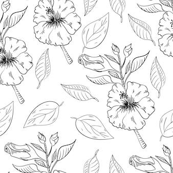 Padrão sem emenda de flores de hibisco com folhas
