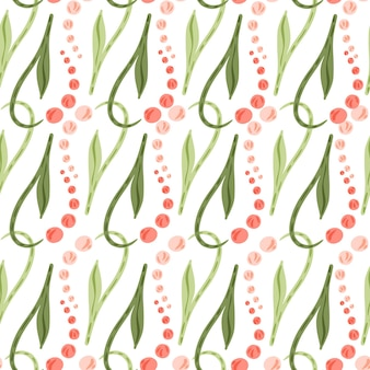 Padrão sem emenda de flores de lírio do vale rosa e folhas verdes. pano de fundo isolado. fundo branco. ilustração das ações. desenho vetorial para têxteis, tecidos, papel de embrulho, papéis de parede.
