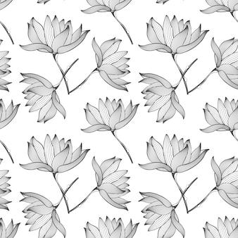 Padrão sem emenda de flores de lótus