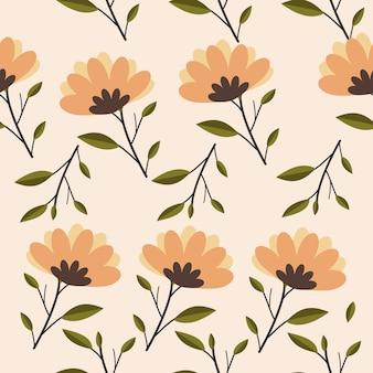 Padrão sem emenda de flores de primavera em estilo de vetor plana