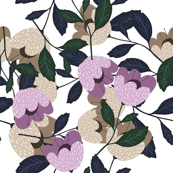Padrão sem emenda de flores desabrochando isolado no fundo branco.