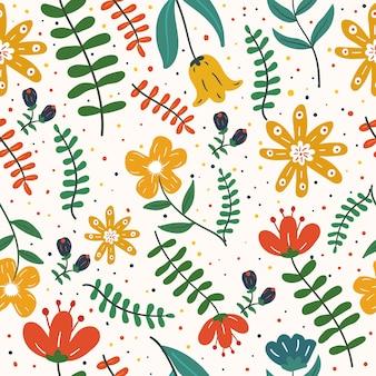 Padrão sem emenda de flores e folhas exóticas coloridas