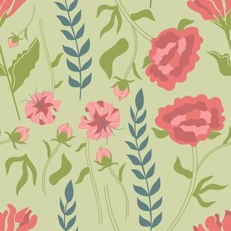 Padrão sem emenda de flores e gramas desenhadas à mão peônia lilium martagon crisântemo